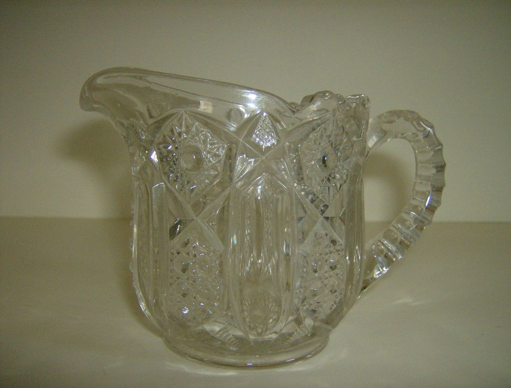 McKee Glass Creamer    Quintec Pattern