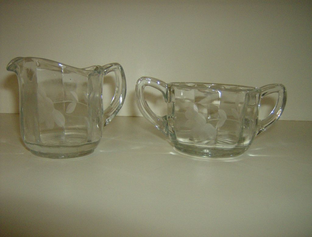 Crystal Open Sugar & Creamer with Vertical Panels & Etched Flowers