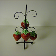 Strawberry Sugar Shakers with Metal Stand ~ Set of 4