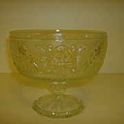 Pressed Glass Pedestal Compote ~ Brockway Glass