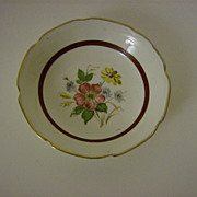 Hand Painted Fruit/Desert Bowl with Gold Trim
