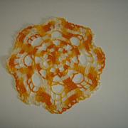 Crochet Doily ~ Orange, Yellow, White