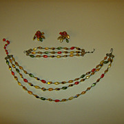Vintage Demi Parure ~ Three Strand ~ Twisted Oval Beads