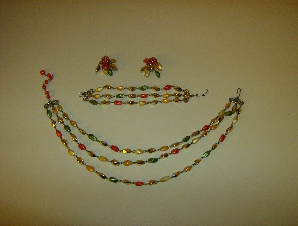 Vintage Demi Parure ~ Three Strand ~ Twisted Oval Beads
