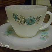 Fire King Cup & Saucer Bonnie Blue Pattern