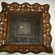 Hand Carved Wooden Tray Made in India