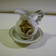 Small Pitcher and Bowl with Pheasants