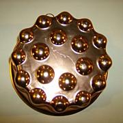 Aluminum Round Dimpled Copper Color Jello Mold - 1960's