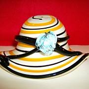 Block Crystal  Art Glass Hat ~Fruit Bowl