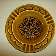 Amber & Brown Ceramic Ashtray