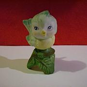 Hand Painted Porcelain Bird on Leaf Figurine