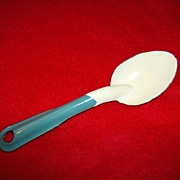 Granite Ware Spoon White with Light Blue ~ Salesman Sample
