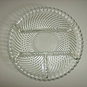 Dominion Glass Co. ~  4 Part Relish Dish ~ Swirl Pattern