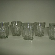 Indiana Glass Company Child's Toy Tumblers in Oval Star Pattern # 300
