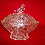 Oval Box With Lid ~ Byrdes Collection Pattern by Hofbauer Crystal ~ Germany