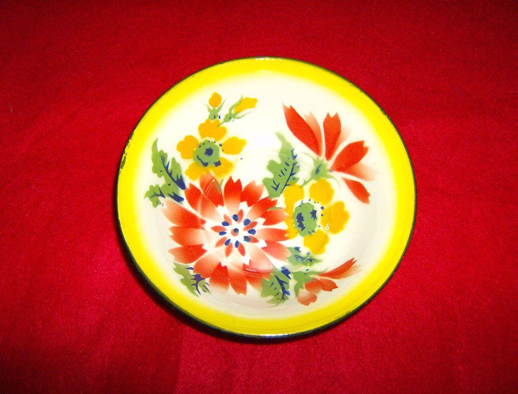 Granite Ware ~ Bowl with Flowers ~ Enamelware ~ 1950's