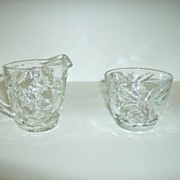 Anchor Hocking Star & Fan  Creamer and Sugar