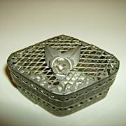 Silver Tone Metal Mesh Trinket Box with Rose