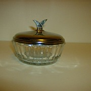 Pressed Glass Bowl with Chrome Cover ~ 1950's