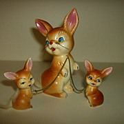 Mother Rabbit with Bunnies ~ Japan ~ 1950's