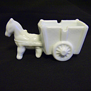 Milk Glass Donkey pulling Cart Ashtray