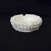 Fenton White Milk Glass Hobnail Ashtray