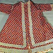 French Fashion or China Head Doll Red Calico Morning Coat / Wrapper 1860s