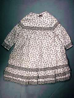 Antique Black & White Calico Dress for China Head or Rag Doll