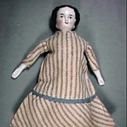 "7 1/2"" Doll House Size Flat Top China Head Doll Wearing Nice Period Dress"