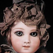 "13"" Premier Jumeau Doll Marked 3 - Factory Blue Dress Hat & Shoes"