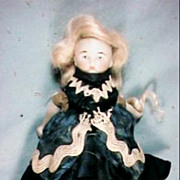 "Tiny 4 1/2"" Bisque Shoulder Head Doll Antique Dress High 3 Strap Shoes"