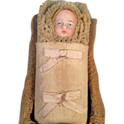 German Bisque Head Doll Baby in Wooden Grain Painted Shoe Candy Container