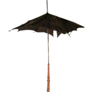 Doll or Child's Silk Parasol or Umbrella with Bead Work Wood Handle TLC