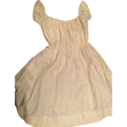 Antique Dress for China or Papier Mache Doll White Woven Fabric Draw String Closure