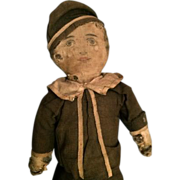 """Unusual Antique 14"""" Art Fabric Type Doll Dressed in a Sailor Outfit Horsehair Stuffed"""
