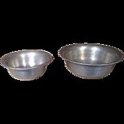 Set of 2 Vintage Miniature German Kitchen Metal Nesting Bowls