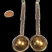 Antique 2 Piece Set Brass Long Handle Ladle & Sieve for Miniature German Kitchen