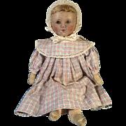 "SOLD Wonderful RARE Antique 15"" Columbian Hand Painted Cloth Rag Doll Emma Adams"
