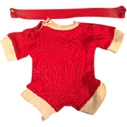 "Red Cotton Jersey Romper Outfit Fits 16"" Dy-Dee Baby or Tiny Tears Doll"