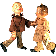 Pair Ideal Compo Head Flexi Dolls Fanny Bryce as Baby Snooks Mortimer Snerd