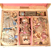 """7"""" All Bisque Jointed Doll Marked 3 with Wardrobe in Fabulous Presentation Box"""