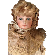 """11"""" Bisque Head French Doll Lovely Beige or Off White Satin Custom Outfit with Antique Sh"""