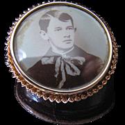 Antique Edwardian 10K Gold Photo Pin With Photo