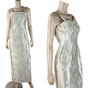 Vintage 1960's Couture Quality French Beaded Jeweled & Sequined Silk Gown