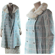 Vintage 1960's Silver Lamé / Lame A-Line Coat With White Mink Collar & Jewel ...