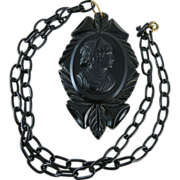 Vintage 1930's Carved Bakelite Cameo Pendant Necklace