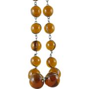 Vintage Art Deco Sterling Silver Caged Amber Glass Orb Necklace 14-MM Orbs
