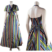 Vintage 1930's Chevron Stripe Halter Dress With Bolero Jacket