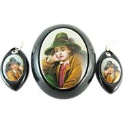 Victorian 10K Gold Whitby Jet Brooch & Earrings With Porcelain Gypsy Boy Plaques