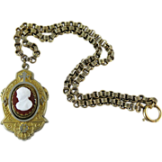 Antique Glass Cameo Gold Filled Rolo Chain Pendant Necklace